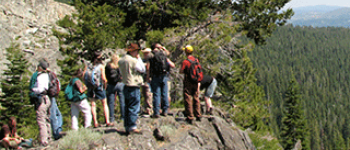 Ecology scientists on a group hike
